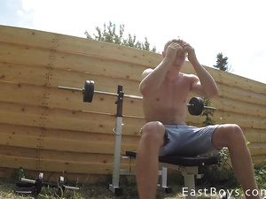Hung amateur twink works out in gym and pool