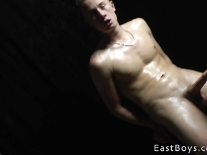 Amazingly sexy shaped twink guy is pleasuring smooth handjob