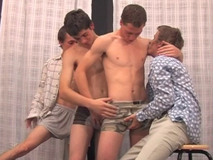 Four hungry twinks are pleasuring group gay sex pleasure