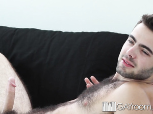 Twink blowjobs boyfriend's needle dick and then fucks his asshole hard