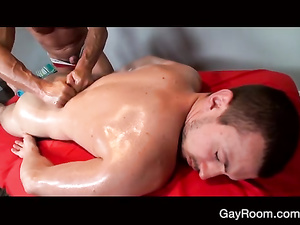 Bearded gay with hairy body gets pounded by strong masseur