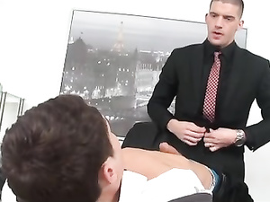 Perfect anal sex in the office by two gay clerks