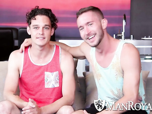 Curly twink gets pleased with tight blowjob by bearded gay boyfriend