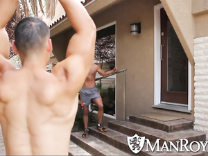 Twink is doing exercises outdoors in sexy panties