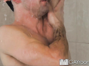 Twink enjoys hot blowjob and masturbation in shower