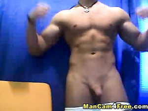 Twink is fondling big dick and excitingly posing