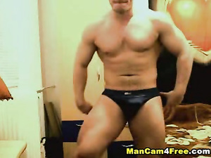 Beauty twink dude with tight body shape is hotly jerking off and posing